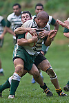 Benjamin Masoe is tackled by Jeremy Biggelaar. Counties Manukau Premier Club Rugby game between Bombay & Manurewa played at Bombay on Saturday June 14th 2008..Bombay won 19 - 12 after leading 12 - 0 at halftime.