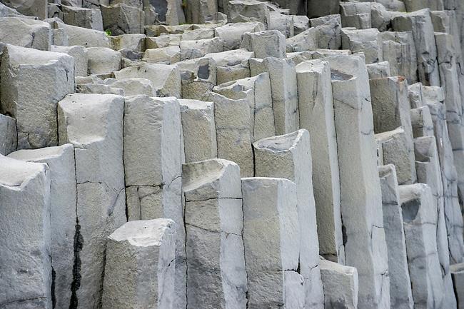 Basalt columns at Halsanefshellir, a cliff in southern Iceland not far from the village Vík.