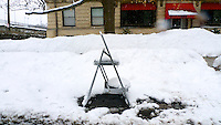 Parking spot reserved with step ladder on Whitney Avenue in Wilkinsburg, PA.