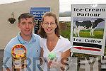 KEEPING COOL: Enjoying home made ice cream at  Valentia Island Farmhouse Ice Cream on Thursday last were the owners of the business Caroline and Joe Daly.