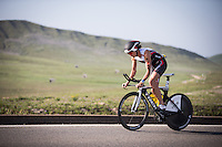 Julie Dibens competes during the bike portion of the Accenture Ironman California 70.3 in Oceanside, CA on March 29, 2014.