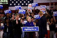 NEWARK, NJ - JUNE 01 : U.S. Democratic presidential candidate Hillary Clinton, singer Jon Bon Jovi and United States Senator from New Jersey Cory  Booker attend a campaign rally on June 01, 2016 in Newark, New Jersey. Hillary Clinton only needs 73 delegates to clinch the party's nomination. on June 7 New Jersey will hold its primary elections, a state that will be awarding 142 total Democratic delegates. Photo by VIEWpress