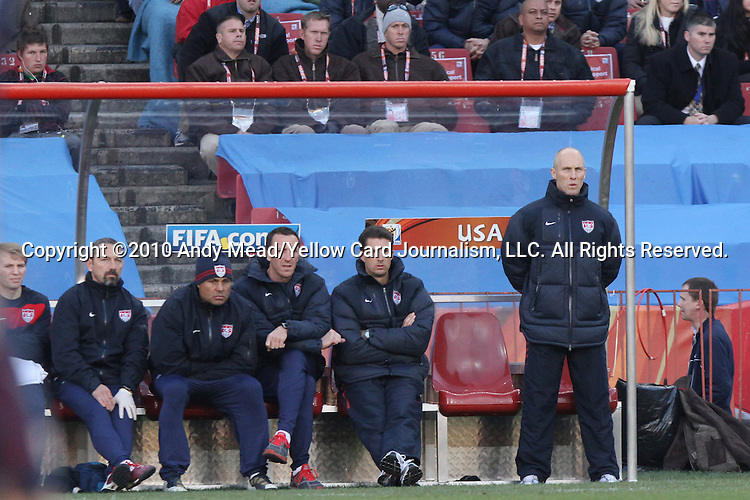 18 JUN 2010: United States head coach Bob Bradley (right) and the USA technical staff. The Slovenia National Team tied the United States National Team 2-2 at Ellis Park Stadium in Johannesburg, South Africa in a 2010 FIFA World Cup Group C match.