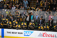 June 6, 2019: Boston Bruins head coach Bruce Cassidy calls goaltender Tuukka Rask (40) to the bench in the final minutes of game 5 of the NHL Stanley Cup Finals between the St Louis Blues and the Boston Bruins held at TD Garden, in Boston, Mass. The Blues defeat the Bruins 2-1 in regulation time. Eric Canha/CSM