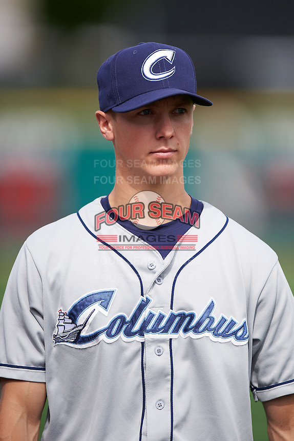 Columbus Clippers pitcher Kyle Crockett (22) walks to the dugout after a game against the Rochester Red Wings on June 16, 2016 at Frontier Field in Rochester, New York.  Rochester defeated Columbus 6-2.  (Mike Janes/Four Seam Images)