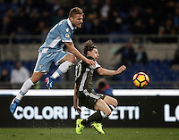 Calcio, Serie A: Lazio, Stadio Olimpico, 13 febbraio 2017.<br /> Lazio's Ciro Immobile (l) in action with Milan's Ignazio Abate (r) during the Italian Serie A football match between Lazio and Milan at Roma's Olympic Stadium, on February 13, 2017.<br /> UPDATE IMAGES PRESS/Isabella Bonotto