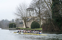 Henley. United Kingdom.  General View, as a crew move past, Temple Island, Henley Fours &amp; Eights Henley Head,  Henley Reach, River Thames. H-O-T, England.<br /> <br /> Saturday  18/02/2017<br /> <br /> [Mandatory Credit. Peter SPURRIER/Intersport Images]