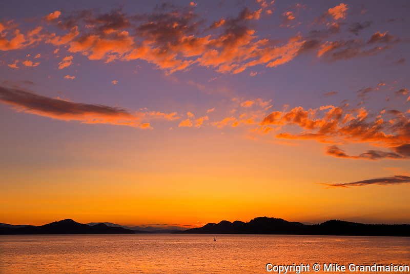 Sunset on Lyall Harbour (Plumper Sound), Saturna Island, British Columbia, Canada