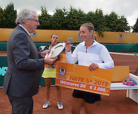 2013-08-17, Netherlands, Raalte,  TV Ramele, Tennis, NRTK 2013, National Ranking Tennis Champ,  Danielle Harmsen receives the winners check from Floor Jonkers KNLTB<br /> <br /> Photo: Henk Koster