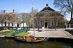 Sailing barge on town canal, Zuiderzee museum, Enkhuizen, Netherlands