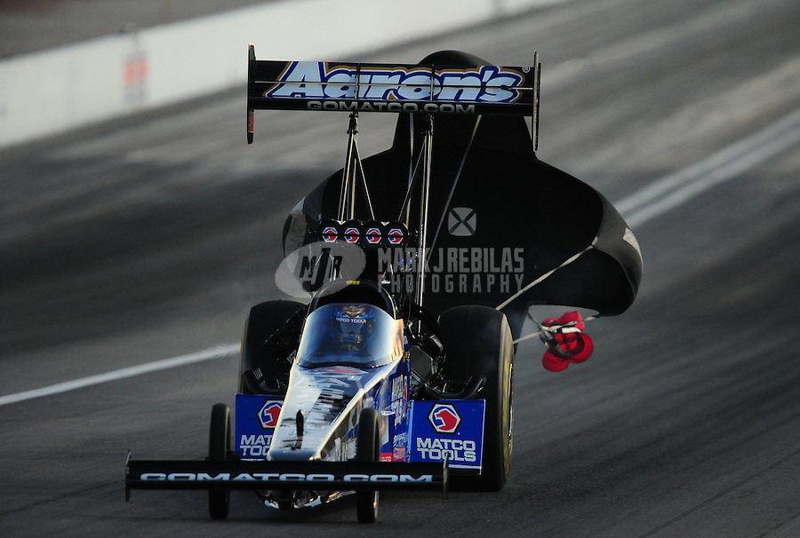 Oct. 28 2011; Las Vegas, NV, USA: NHRA top fuel dragster driver Antron Brown during qualifying for the Big O Tires Nationals at The Strip at Las Vegas Motor Speedway. Mandatory Credit: Mark J. Rebilas-US PRESSWIRE