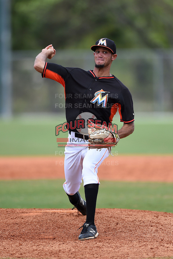 Miami Marlins pitcher Jheyson Manzueta (6) during a minor league spring training game against the New York Mets on March 28, 2014 at the Roger Dean Stadium Complex in Jupiter, Florida.  (Mike Janes/Four Seam Images)