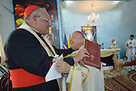 Cardinal Timothy Dolan, the archbishop of New York, embraces Bishop Shlemon Warduni, the auxiliary bishop of the Patriarchate of Babylon, during a Mass in Inishke, Iraq, on April 10, 2016. Bishop Warduni called on Cardinal Cardinal Dolan, chair of the Catholic Near East Welfare Association, to pressure the U.S. government to end the violence in the country.<br /> <br /> Cardinal Dolan came to Iraqi Kurdistan with other church leaders to visit with Christians and others displaced by ISIS. Along with Bishop Warduni and other church leaders, he celebrated Mass in the Chaldean Catholic church with local residents and displaced Christians living in local villages.<br /> <br /> CNEWA is a papal agency providing humanitarian and pastoral support to the church and people in the region.