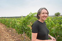 Karen Turner Prieure de St Jean de Bebian. Pezenas region. Languedoc. Young Roussanne vines in calcareous soil in the area of Frigolas. France. Europe. Vineyard. Calcareous limestone.