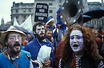 AntI Falklands war demo Trafalgar Square London 1982. Blue and White are Argentina's colour.