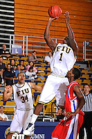 31 December 2009:   FIU's Antione Watson (1) shoots a jump shot in the second half as the South Alabama Jaguars defeated the FIU Golden Panthers, 71-59, at the U.S. Century Bank Arena in Miami, Florida.