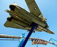 Carowinds, a Cedar Fair Entertainment Company amusement / theme park, thrills riders on Afterburn, a 32-passenger, inverted steel roller coaster with floorless cars that are suspended below the track. Afterburn has six inversions, including a vertical loop, a space drop, an immelman, a flat spin, spiral and a batwing. The thrill ride opened in 1999 and was built by Bolliger & Mabillard of Switzerland.