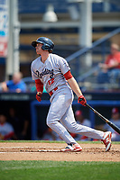 Reading Fightin Phils first baseman Zach Green (12) follows through on a swing during the second game of a doubleheader against the Portland Sea Dogs on May 15, 2018 at FirstEnergy Stadium in Reading, Pennsylvania.  Reading defeated Portland 9-8.  (Mike Janes/Four Seam Images)