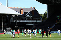 18th July 2020; Craven Cottage, London, England; English Championship Football, Fulham versus Sheffield Wednesday; Players walk back to the cottage at half time