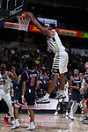 Doral Moore (4) of the Wake Forest Demon Deacons completes a slam dunk during first half action against the Richmond Spiders at the LJVM Coliseum on December 2, 2017 in Winston-Salem, North Carolina.  (Brian Westerholt/Sports On Film)