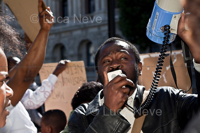 Ivory Coast people.<br /> <br /> London, 14/05/2011. A demonstration organised to show solidarity with the population of Gaza takes place outside Downing Street. Subsequently, Chinese citizens gathered outside the National Gallery in Trafalgar Square to celebrate the 19th Anniversary of &quot;Falun Dafa&quot;, a practice of Buddhist self-cultivation. Exercises related with that practise which was banned by the Chinese Government in 1999 were demonstrated. Later, around one hundred people from the Ivory Coast gathered in front of Downing Street to support the former Ivory Coast President Laurent Gbagbo and protest against the French and UN intervention in their country's politics. Last, Bahraini People protested for justice in Bahrain and against the repression operated by their Government. The march started at the Bahraini embassy, and continued via the Saudi Arabia embassy, ending outside the US embassy.