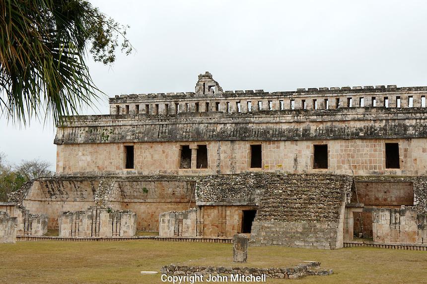 The Palace or El Palacio at the Mayan ruins of  Kabah, Yucatan, Mexico   .