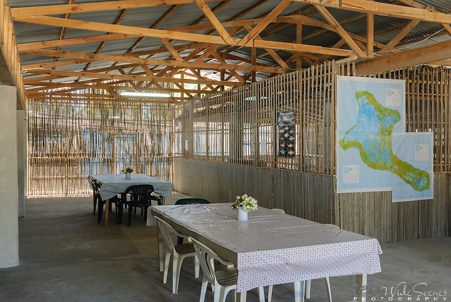 The interior communal room in a lodge on the remote island of Kiritimati in Kiribati.