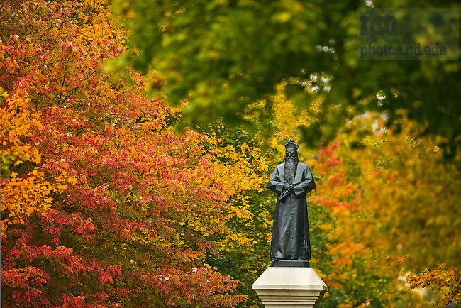 Oct. 30, 2013; Statue of Fr. Sorin on Main Quad<br /> <br /> Photo by Matt Cashore/University of Notre Dame