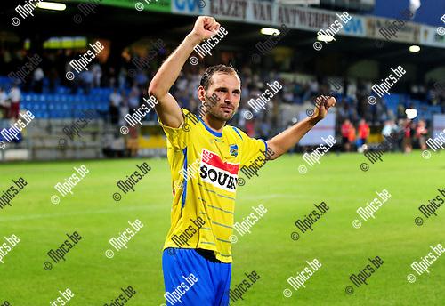 2014-07-26 / Voetbal / seizoen 2014-2015 / KVC Westerlo - Sporting Lokeren / Maxime Annys viert de overwinning van Westerlo<br /><br />Foto: mpics.be