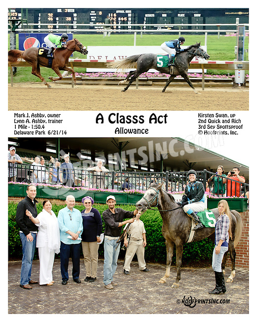 A Classs Act winning at Delaware Park racetrack on 6/21/14<br /> bred in Virginia by: Cre Run Enterprises<br /> Nivour de Cardonne - Toppoftheclass