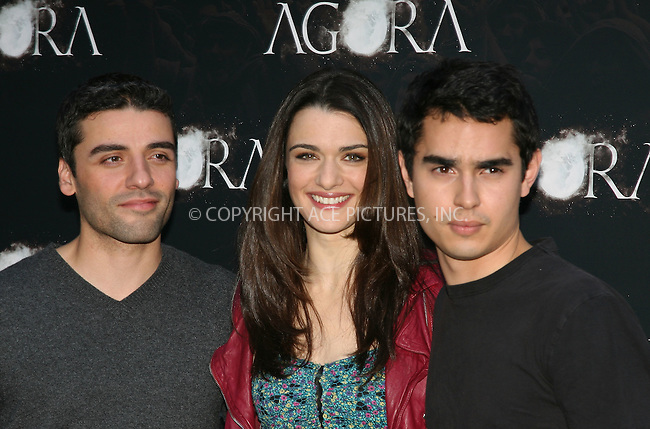 WWW.ACEPIXS.COM . . . . .  ..... . . . . US SALES ONLY . . . . .....October 6 2009, Madrid....(L-R) Actors Oscar Isaac, Raquel Weisz and Max Minghella attends the 'Agora' photocall at the Biblioteca Nacional on October 6, 2009 in Madrid, Spain.....Please byline: FD-ACE PICTURES... . . . .  ....Ace Pictures, Inc:  ..tel: (212) 243 8787 or (646) 769 0430..e-mail: info@acepixs.com..web: http://www.acepixs.com