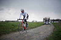Yaroslav Popovych (UKR/Trek-Segafredo) in preparation of his very last race ever (as a rider).<br /> After the race on sunday, Popovych will become sports director in the team he has been part of for a good part of his long career.<br /> <br /> recon of the 114th Paris - Roubaix 2016