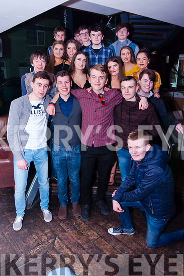 Conor Horgan (19) of Ardfert and Vince Casey (18) of Ballyheigue pictured here front centre took to the dancefloor with friends on Saturday night as they celebrated their joint birthdays at The Abbey Inn.