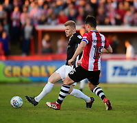 Lincoln City's Elliott Whitehouse under pressure from Exeter City's Jordan Moore-Taylor<br /> <br /> Photographer Chris Vaughan/CameraSport<br /> <br /> The EFL Sky Bet League Two Play Off Second Leg - Exeter City v Lincoln City - Thursday 17th May 2018 - St James Park - Exeter<br /> <br /> World Copyright &copy; 2018 CameraSport. All rights reserved. 43 Linden Ave. Countesthorpe. Leicester. England. LE8 5PG - Tel: +44 (0) 116 277 4147 - admin@camerasport.com - www.camerasport.com