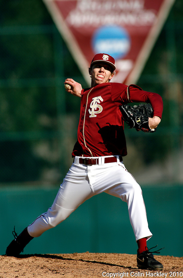 TALLAHASSEE, FL 2/13/10-FSU-BSB FANDAY10 CH40-Florida State's David Trexler pitches during Fan Day Scrimmage action Saturday in Tallahassee...COLIN HACKLEY PHOTO