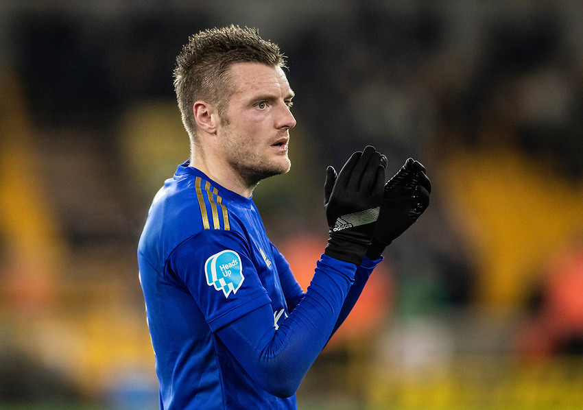 Leicester City's Jamie Vardy applauds his side's travelling supporters at the end of the match <br /> <br /> Photographer Andrew Kearns/CameraSport<br /> <br /> The Premier League - Wolverhampton Wanderers v Leicester City - Friday 14th February 2020 - Molineux - Wolverhampton<br /> <br /> World Copyright © 2020 CameraSport. All rights reserved. 43 Linden Ave. Countesthorpe. Leicester. England. LE8 5PG - Tel: +44 (0) 116 277 4147 - admin@camerasport.com - www.camerasport.com