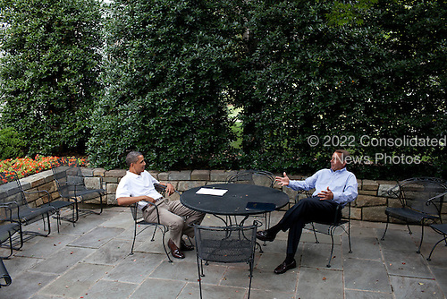 United States President Barack Obama meets with Speaker of the U.S. House John Boehner (Republican of Ohio) on the patio near the Oval Office, Sunday, July 3, 2011. .Mandatory Credit: Pete Souza - White House via CNP