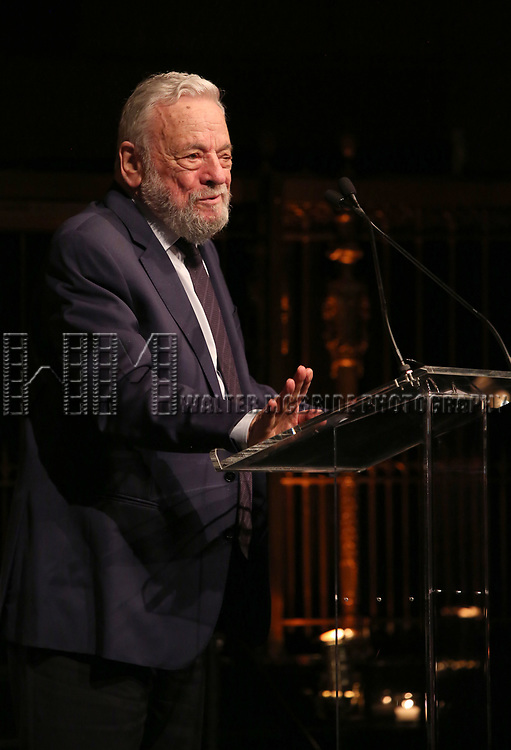 Stephen Sondheim on stage at the  2017 Dramatists Guild Foundation Gala presentation at Gotham Hall on November 6, 2017 in New York City.
