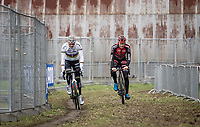 CX World Champion Mathieu van der Poel (NED/Corendon-Circus) warming up alongside Daan Soete (BEL/Pauwels Sauzen - Bingoal)<br /> <br /> Elite Men's Race<br /> UCI cyclocross WorldCup - Koksijde (Belgium)<br /> <br /> ©kramon