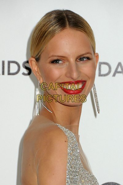 Karolina Kurkova.20th Annual Elton John Academy Awards Viewing Party held at West Hollywood Park, West Hollywood, California, USA..February 26th, 2012.oscars headshot portrait silver dangling earrings red lipstick side.CAP/ADM/BP.©Byron Purvis/AdMedia/Capital Pictures.