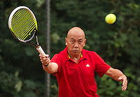 Netherlands, Amstelveen, August 18, 2015, Tennis,  National Veteran Championships, NVK, TV de Kegel, Mens 65 + years,  Soen Lim<br /> Photo: Tennisimages/Henk Koster
