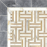 Gaston, a handmade mosaic shown in polished Cream Onyx, Calacatta, and Allure, is part of the Illusions™ Collection by Sara Baldwin Designs for New Ravenna.