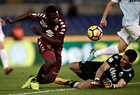 Calcio, Serie A: Roma, stadio Olimpico, 11 dicembre 2017.<br /> Torino's Afriyie Acquah (l) in action with Lazio's goalkeeper Thomas Strakosha (r) during the Italian Serie A football match between Lazio and Torino at Rome's Olympic stadium, December 11, 2017.<br /> UPDATE IMAGES PRESS/Isabella Bonotto