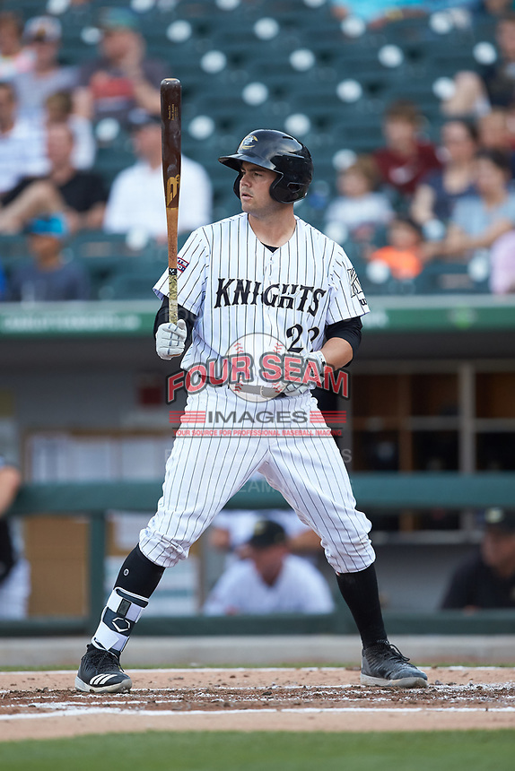 Brett Austin (22) of the Charlotte Knights at bat against the Indianapolis Indians at BB&T BallPark on May 26, 2018 in Charlotte, North Carolina. The Indians defeated the Knights 6-2.  (Brian Westerholt/Four Seam Images)
