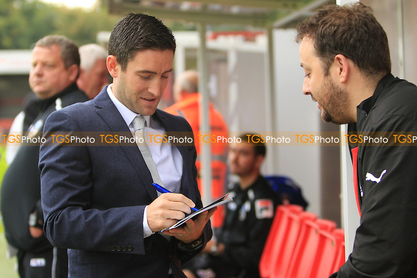 Oldham Athletic Manager Lee Johnson signs autograph before game - Crawley Town vs Oldham Athletic - Sky Bet League One Football at the Broadfield Stadium Crawley, West Sussex - 28/09/13 - MANDATORY CREDIT: Simon Roe/TGSPHOTO - Self billing applies where appropriate - 0845 094 6026 - contact@tgsphoto.co.uk - NO UNPAID USE