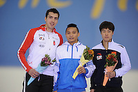 SCHAATSEN: SALT LAKE CITY: Utah Olympic Oval, 15-11-2013, Essent ISU World Cup, podium 500m Division B, Alex  Boisvert-Lacroix (CAN), Ching-Yang  Sung (TPE), Qiuming  Bai (CHN), ©foto Martin de Jong