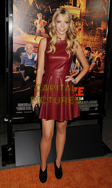 """Riki Lindhome.""""Fun Size"""" Los Angeles Premiere held at Paramount Studios, Los Angeles, California, USA..October 25th, 2012.full length red burgundy leather sleeveless dress hand on hip black shoes boots booties .CAP/ROT/TM.© TM/Roth/Capital Pictures"""