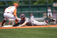 Texas A&M Aggies outfiedler Brandon Wood #8 slides into second base during the NCAA baseball game against the Texas Longhorns on April 29, 2012 at UFCU Disch-Falk Field in Austin, Texas. The Longhorns beat the Aggies 2-1 in the last ever regular season game scheduled for the long time rivals. (Andrew Woolley / Four Seam Images)