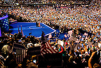 President Barack Obama during his nomination acceptance speech at the Democratic National Convention at the Time Warner Cable Arena in Charlotte, North Carolina.