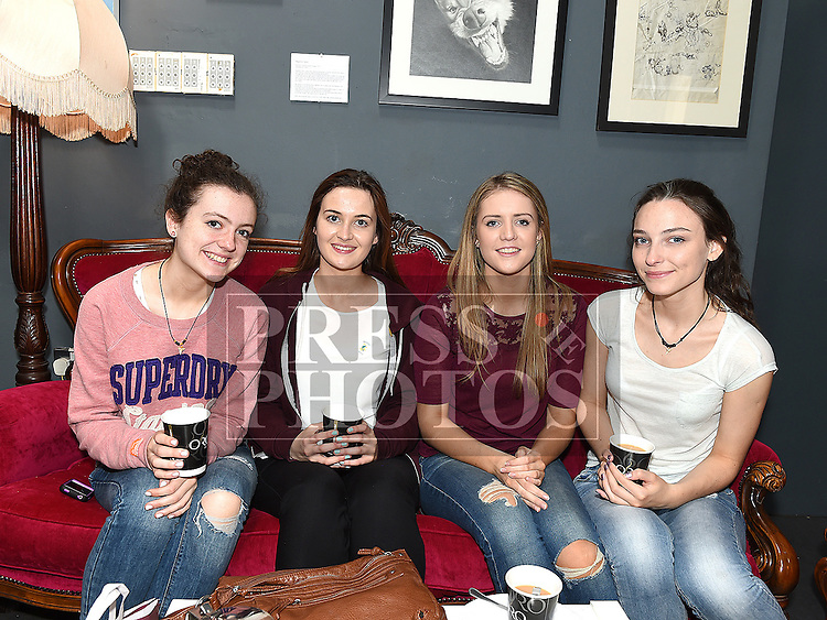 Sarah McGuinness, Grainne McIvor, Jessica Booth and Grainne Sharkey pictured at the Drogheda Youth Theatre cake sale in the Droichead Arts Centre. Photo:Colin Bell/pressphotos.ie